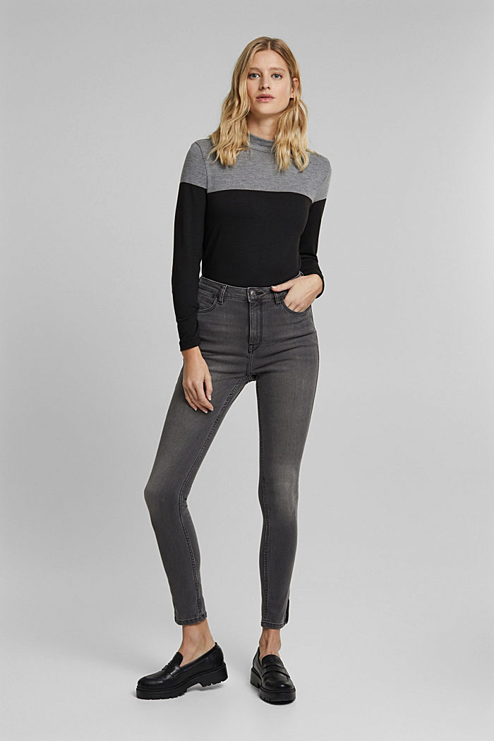 Recycelt: Skinny-Jeans mit hohem Bund, GREY MEDIUM WASHED, detail image number 6