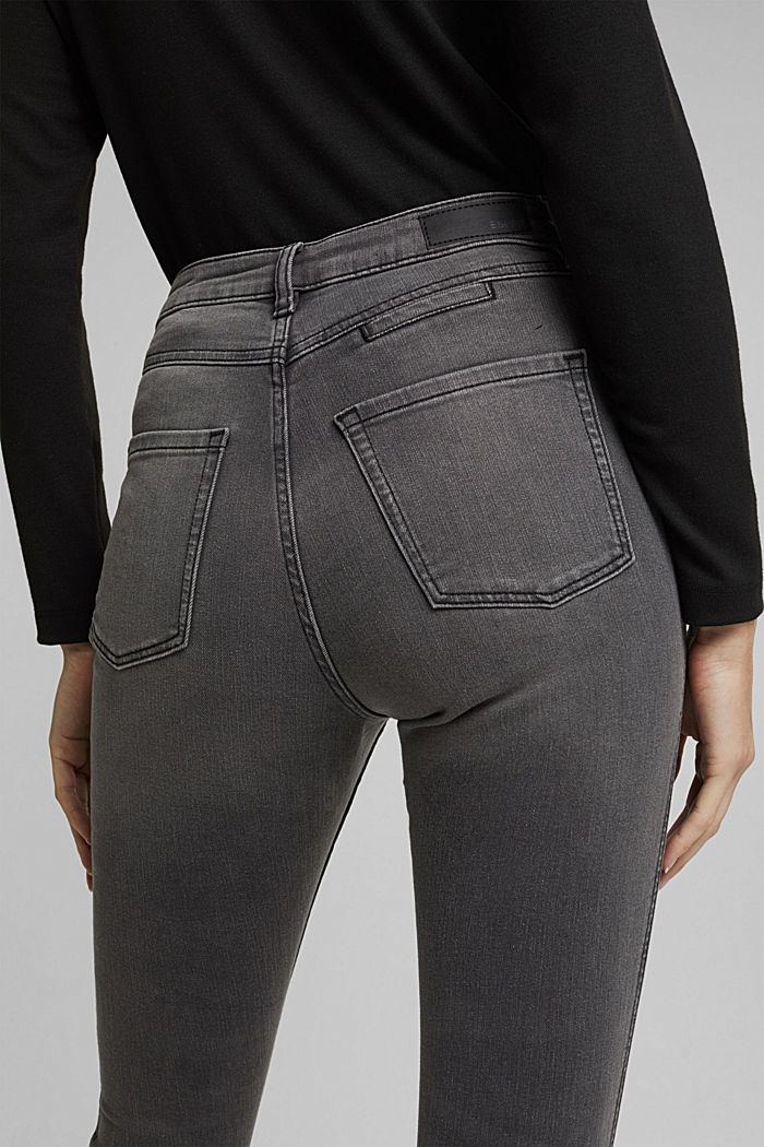 Recycelt: Skinny-Jeans mit hohem Bund, GREY MEDIUM WASHED, detail image number 2