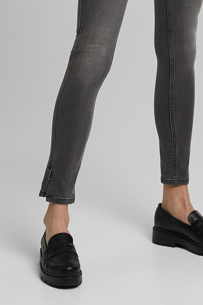 Recycelt: Skinny-Jeans mit hohem Bund, GREY MEDIUM WASHED, detail image number 5