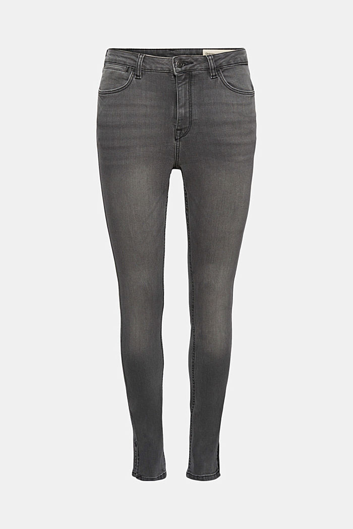 Recycelt: Skinny-Jeans mit hohem Bund, GREY MEDIUM WASHED, detail image number 7