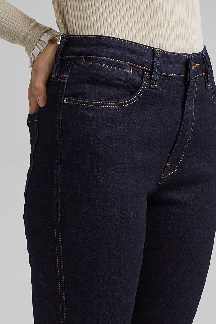 Stretch jeans with slits, organic cotton, BLUE RINSE, detail image number 2