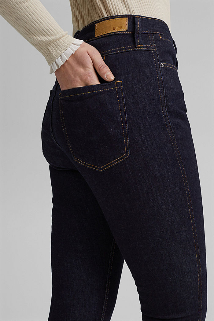 Stretch jeans with slits, organic cotton, BLUE RINSE, detail image number 5