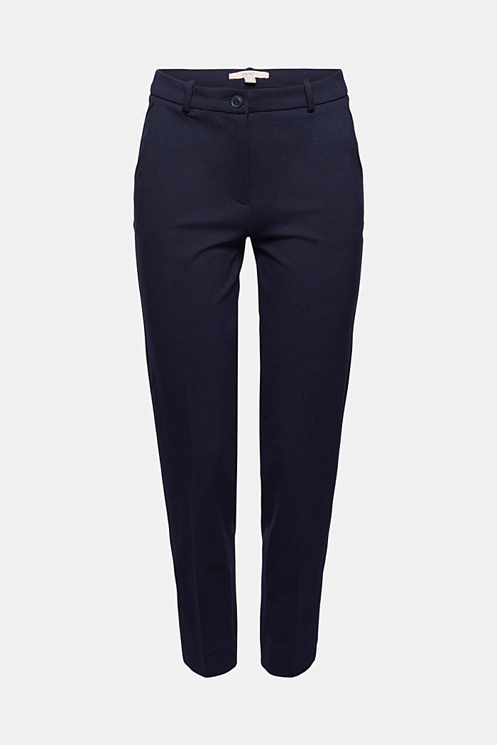 Punto jersey chinos, NAVY, overview