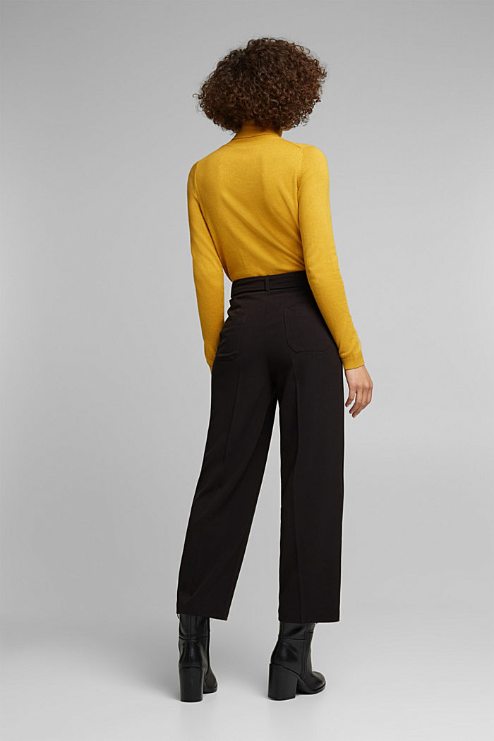 Stretch trousers with a tie-around belt, BLACK, detail image number 3