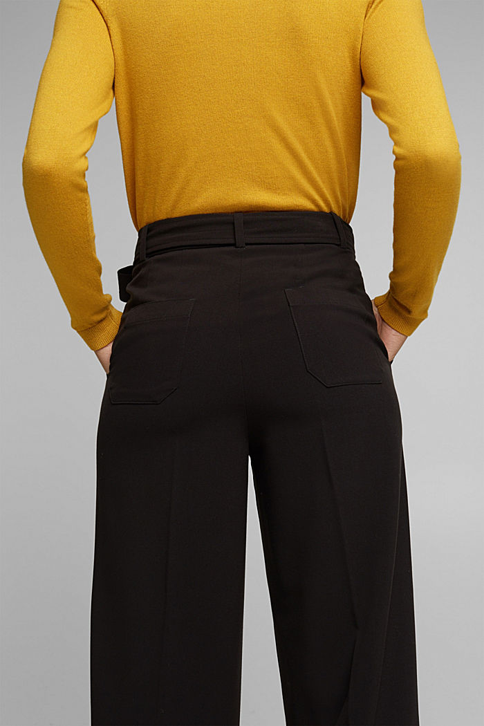 Stretch trousers with a tie-around belt, BLACK, detail image number 5