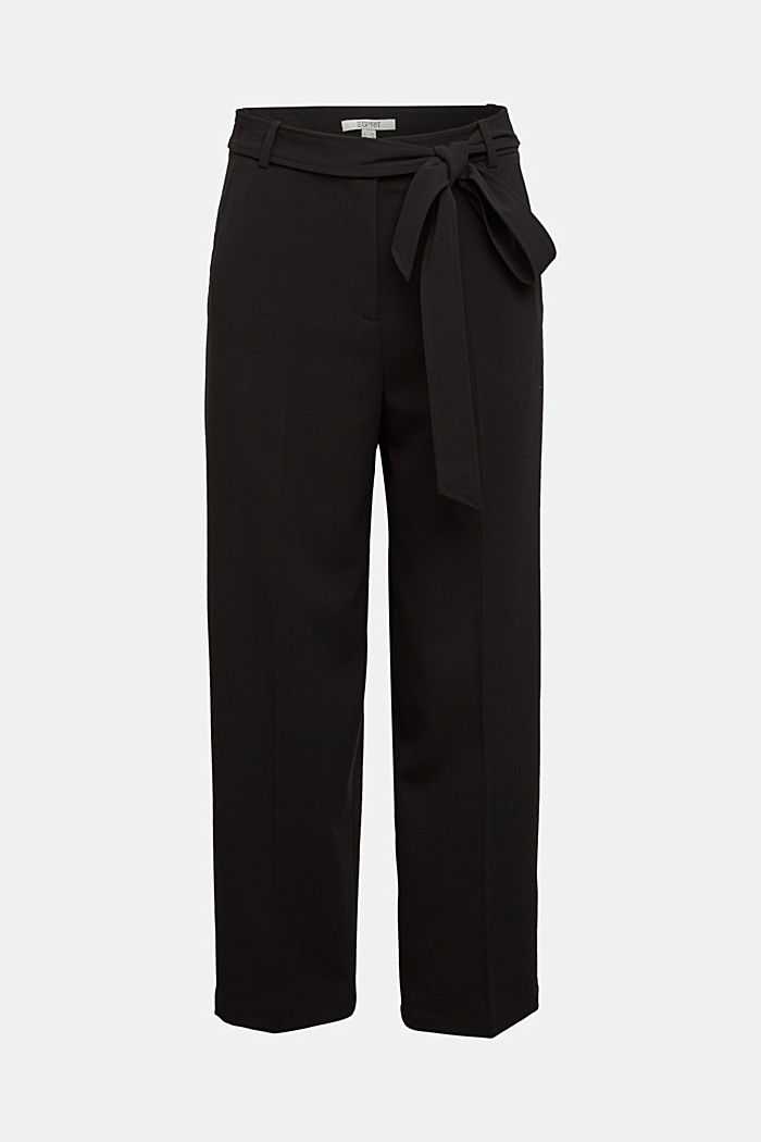 Stretch trousers with a tie-around belt