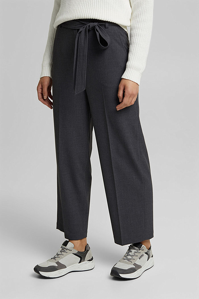 Stretch trousers with a tie-around belt, DARK GREY, detail image number 0