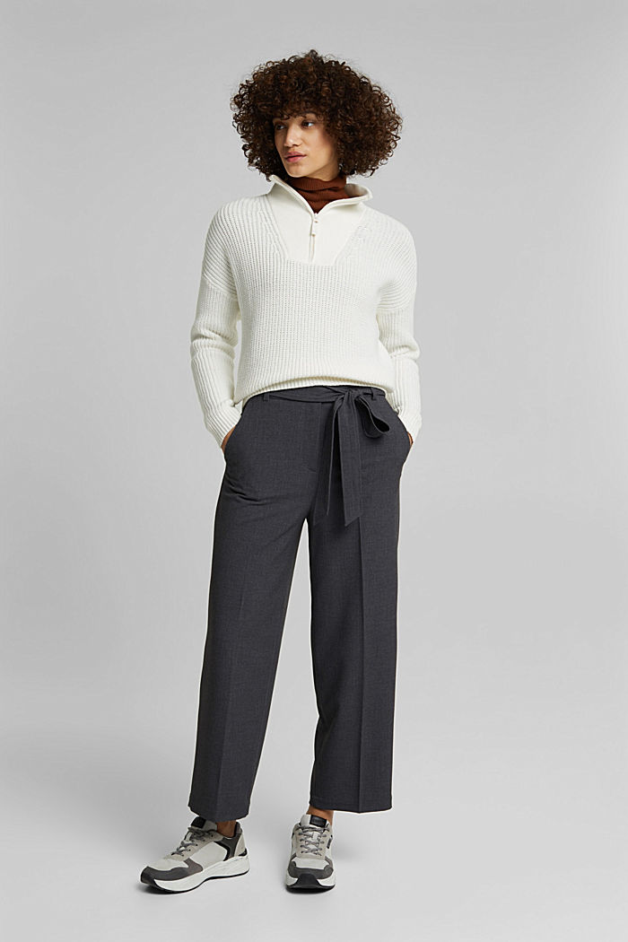 Pantalon stretch à ceinture à nouer, DARK GREY, detail image number 5