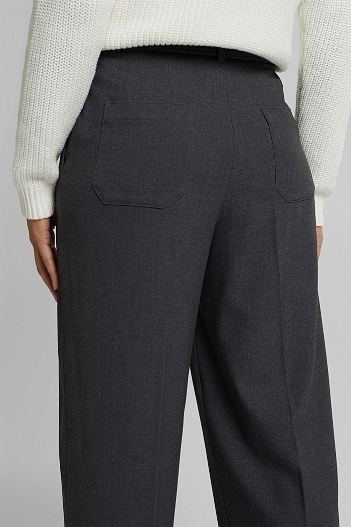 Stretch trousers with a tie-around belt, DARK GREY, detail image number 4