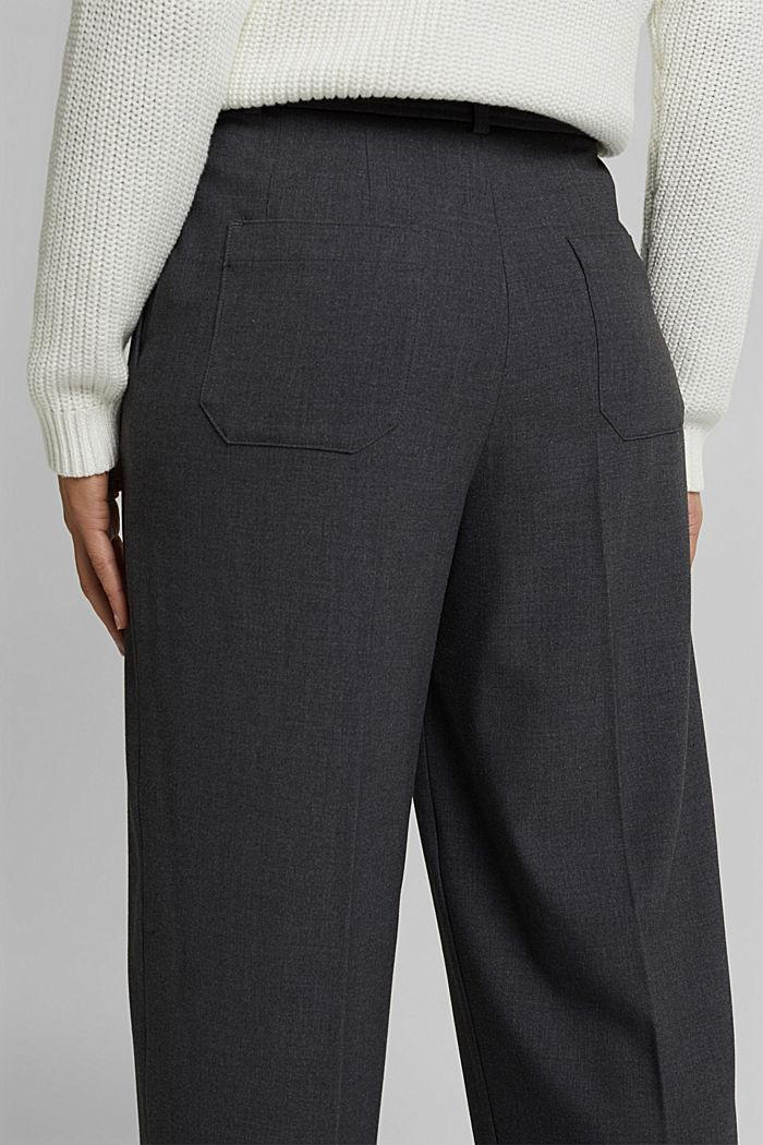 Pantalon stretch à ceinture à nouer, DARK GREY, detail image number 4