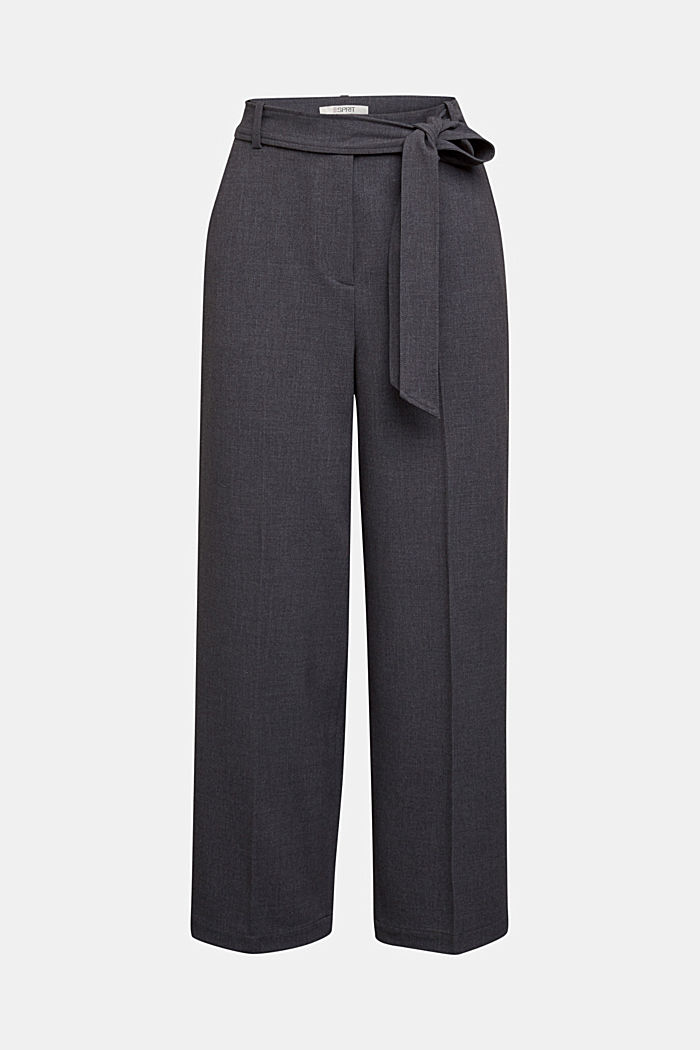 Pantalon stretch à ceinture à nouer, DARK GREY, detail image number 6