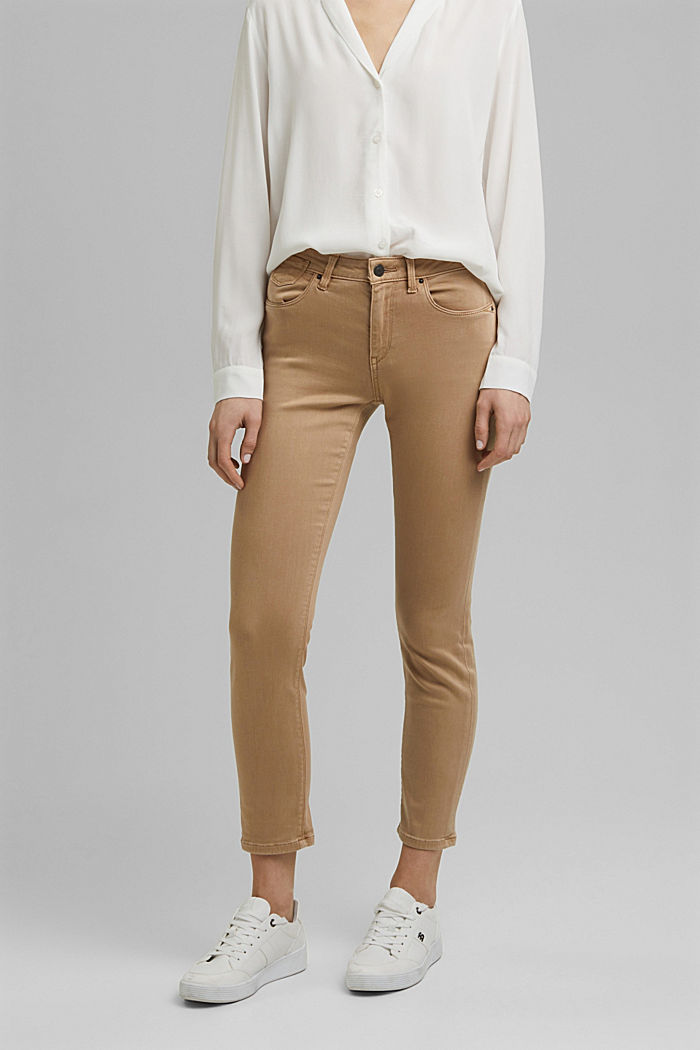 Ankle-length jeans with super stretch for comfort, BEIGE, detail image number 0