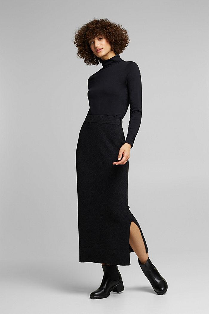 Falda midi con algodón ecológico, ANTHRACITE, detail image number 6