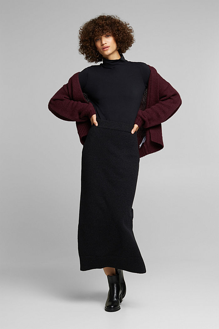 Falda midi con algodón ecológico, ANTHRACITE, detail image number 1