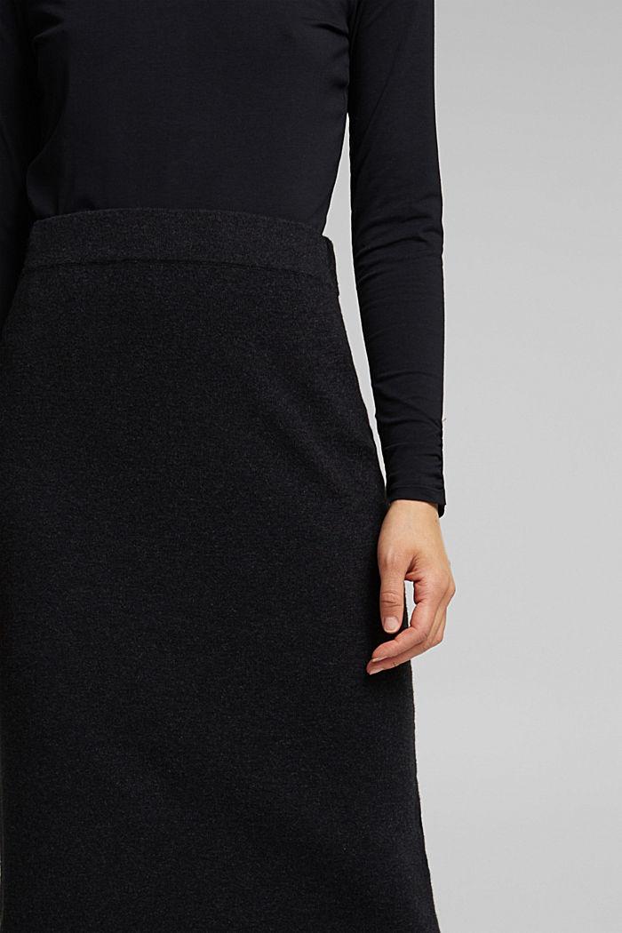 Falda midi con algodón ecológico, ANTHRACITE, detail image number 2