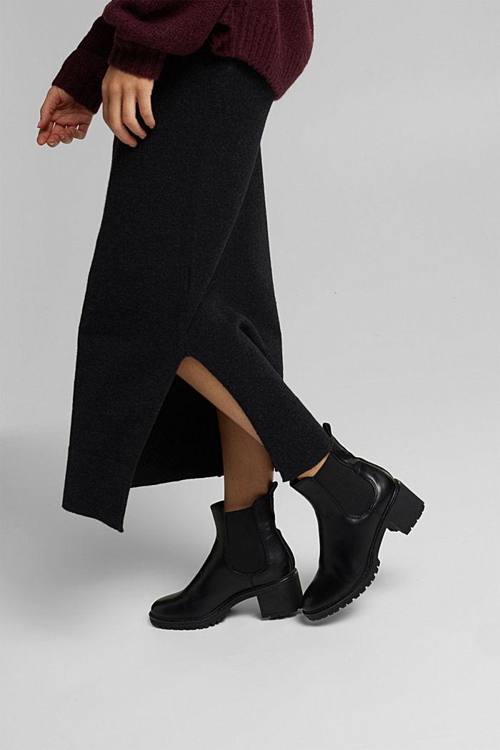 Falda midi con algodón ecológico, ANTHRACITE, detail image number 5