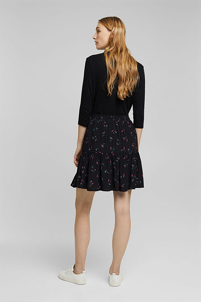 Flounce skirt with LENZING™ ECOVERO™, BLACK, detail image number 3