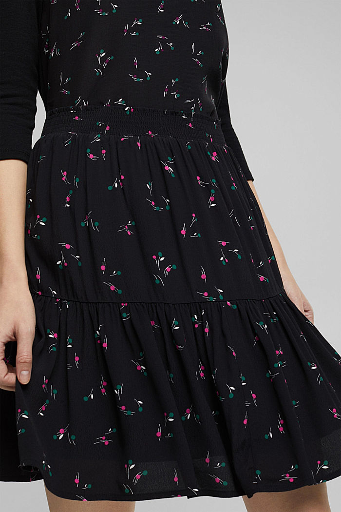 Flounce skirt with LENZING™ ECOVERO™, BLACK, detail image number 2