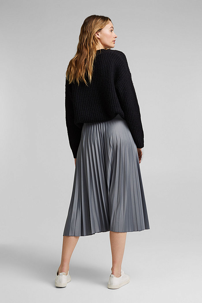 Pleated skirt with an elasticated waistband, GUNMETAL, detail image number 3