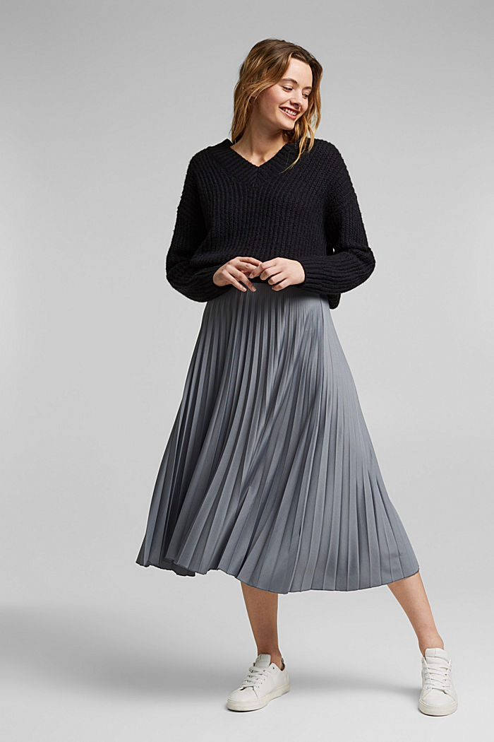 Pleated skirt with an elasticated waistband, GUNMETAL, detail image number 5