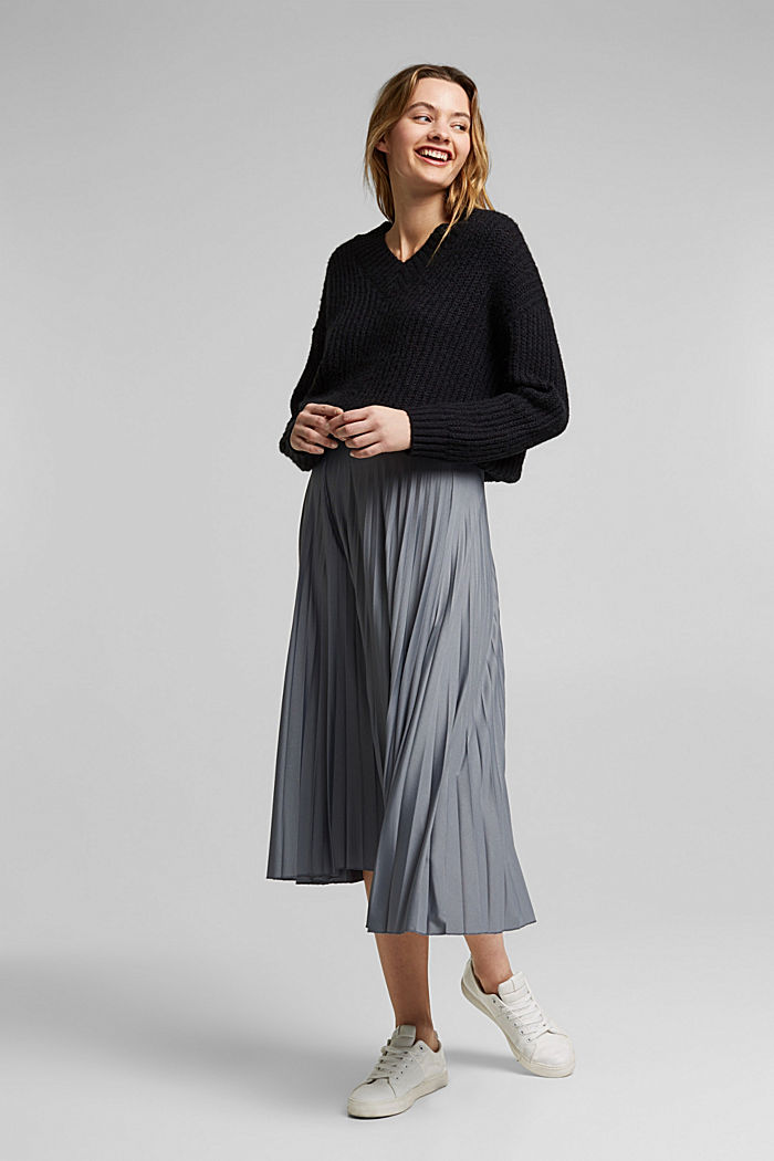 Pleated skirt with an elasticated waistband, GUNMETAL, detail image number 1