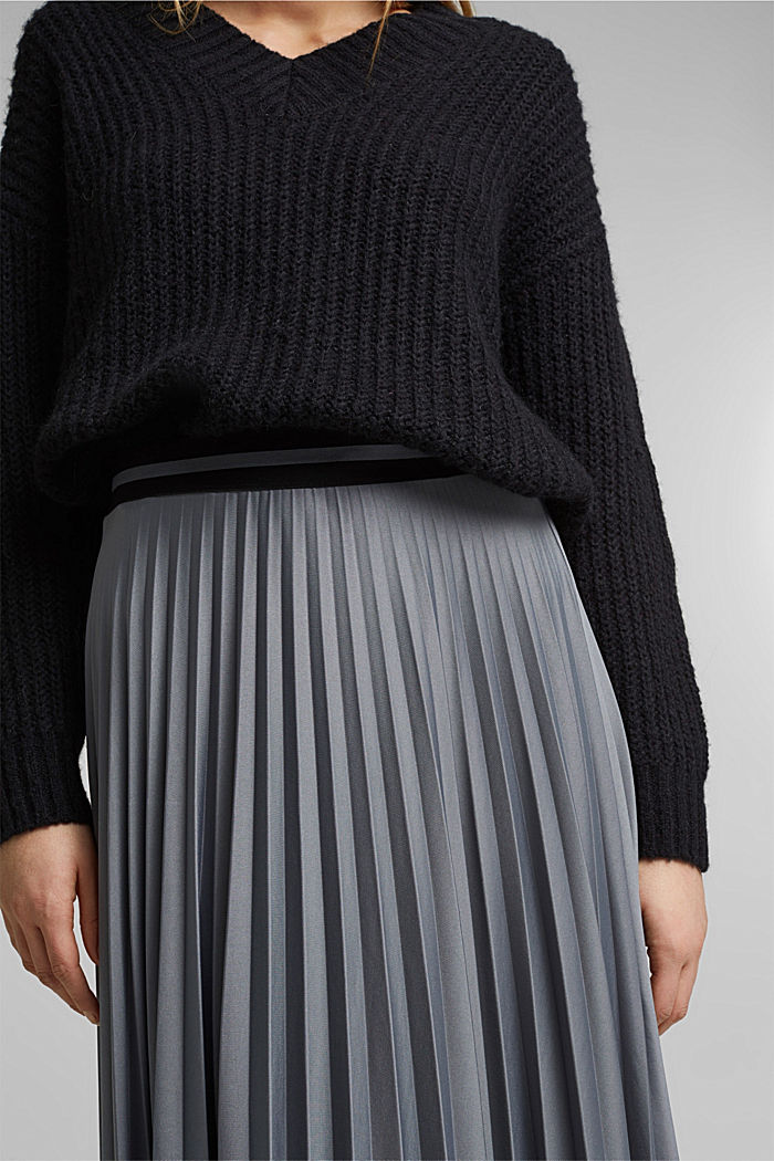 Pleated skirt with an elasticated waistband, GUNMETAL, detail image number 2