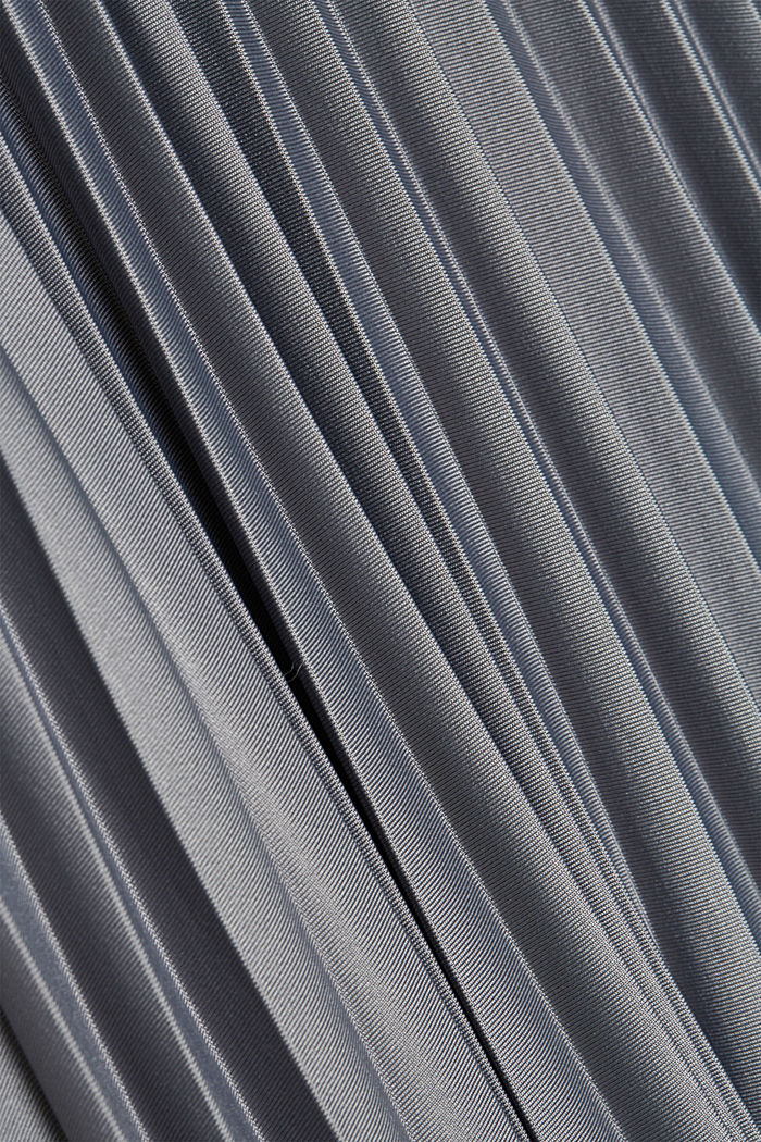 Pleated skirt with an elasticated waistband, GUNMETAL, detail image number 4