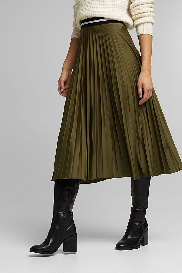 Pleated skirt with an elasticated waistband, KHAKI GREEN, detail image number 0