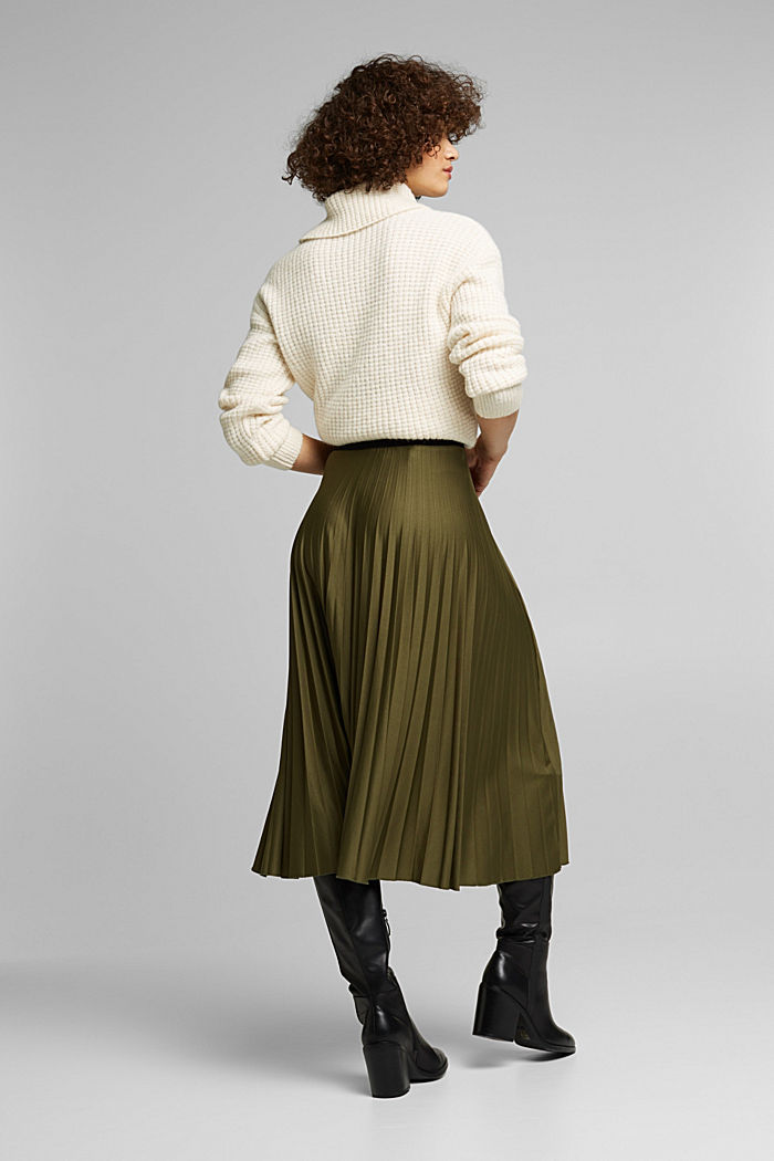 Pleated skirt with an elasticated waistband, KHAKI GREEN, detail image number 3
