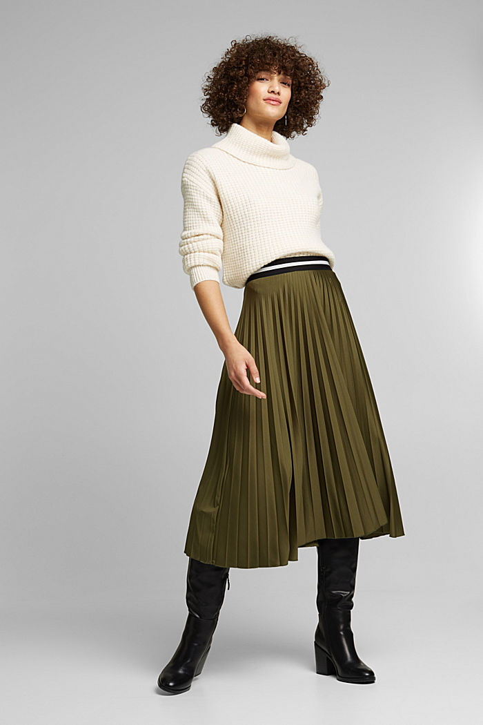 Pleated skirt with an elasticated waistband, KHAKI GREEN, detail image number 1