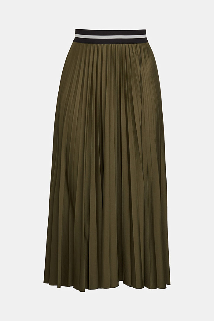 Pleated skirt with an elasticated waistband, KHAKI GREEN, detail image number 6