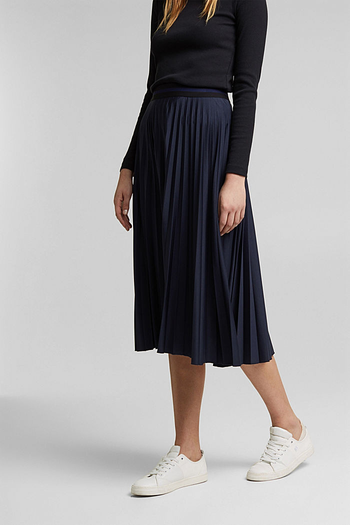 Pleated skirt with an elasticated waistband, NAVY, detail image number 0