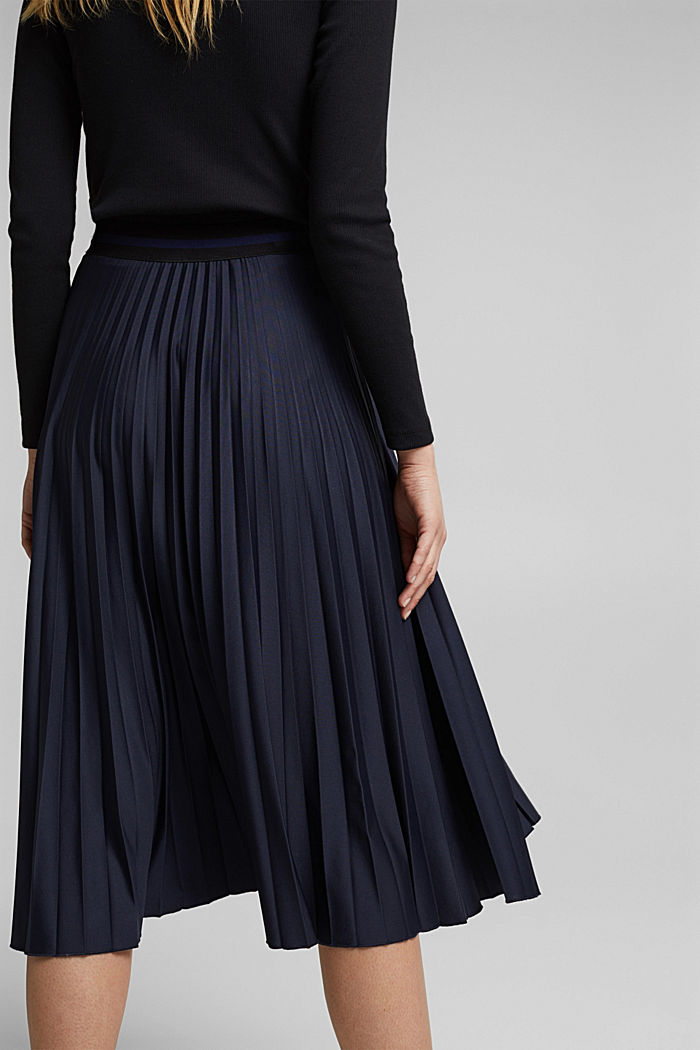 Pleated skirt with an elasticated waistband, NAVY, detail image number 2