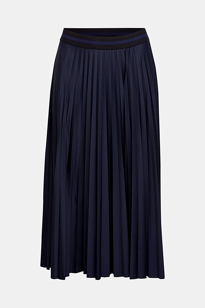 Pleated skirt with an elasticated waistband, NAVY, detail image number 5
