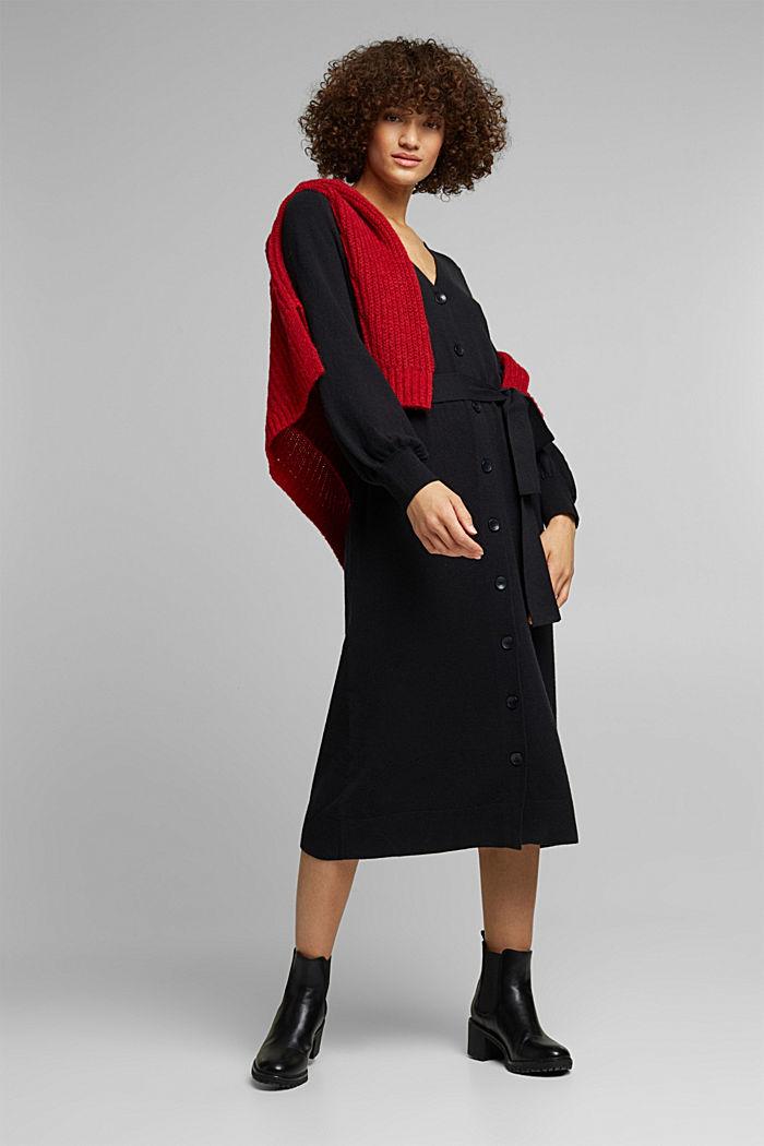 Abito in maglia con cotone biologico, BLACK, detail image number 1
