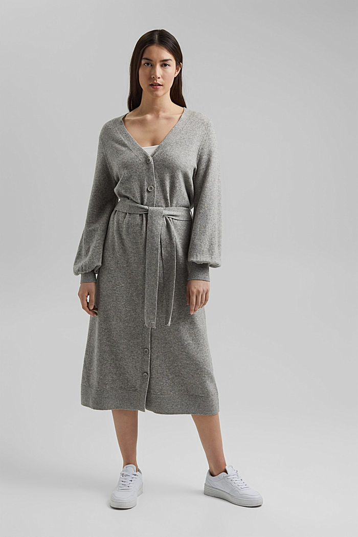Knitted dress with organic cotton, MEDIUM GREY, detail image number 1