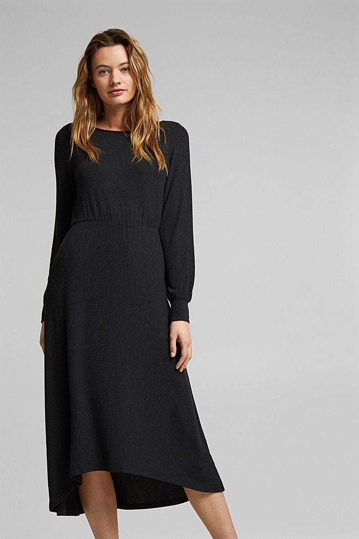Zavinovací pletené šaty s materiálem LENZING™ ECOVERO, BLACK, detail image number 0