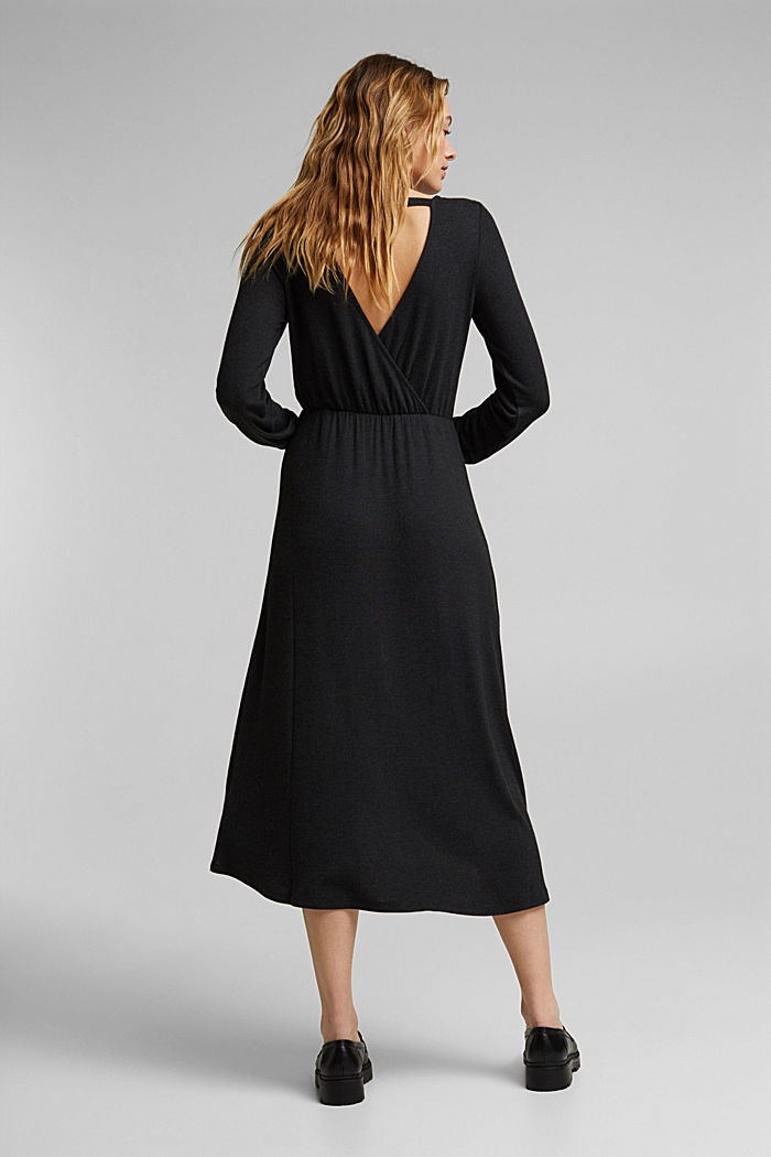 Knitted wrap dress with LENZING™ ECOVERO, BLACK, detail image number 1