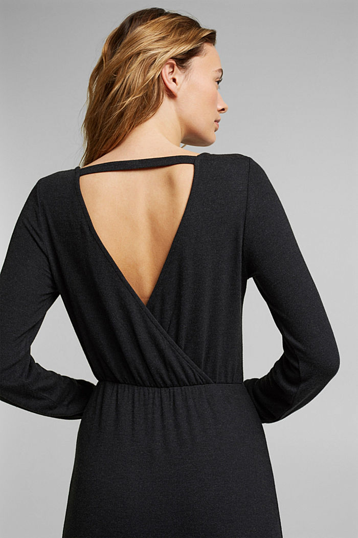 Knitted wrap dress with LENZING™ ECOVERO, BLACK, detail image number 4