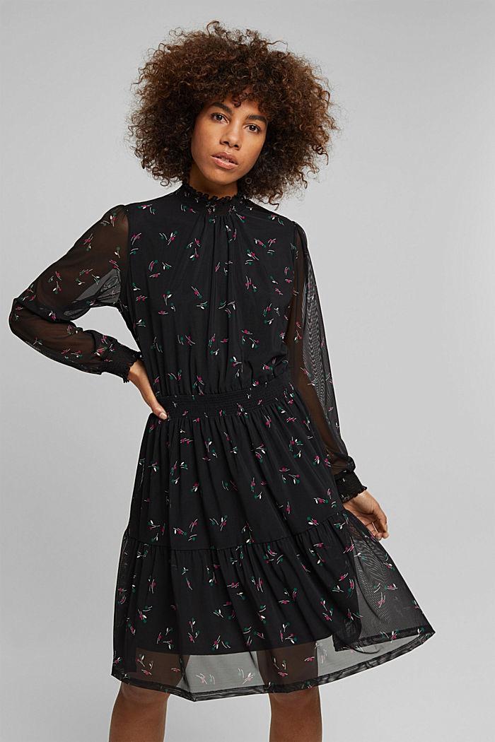 Mesh dress with smocked details, BLACK, detail image number 0