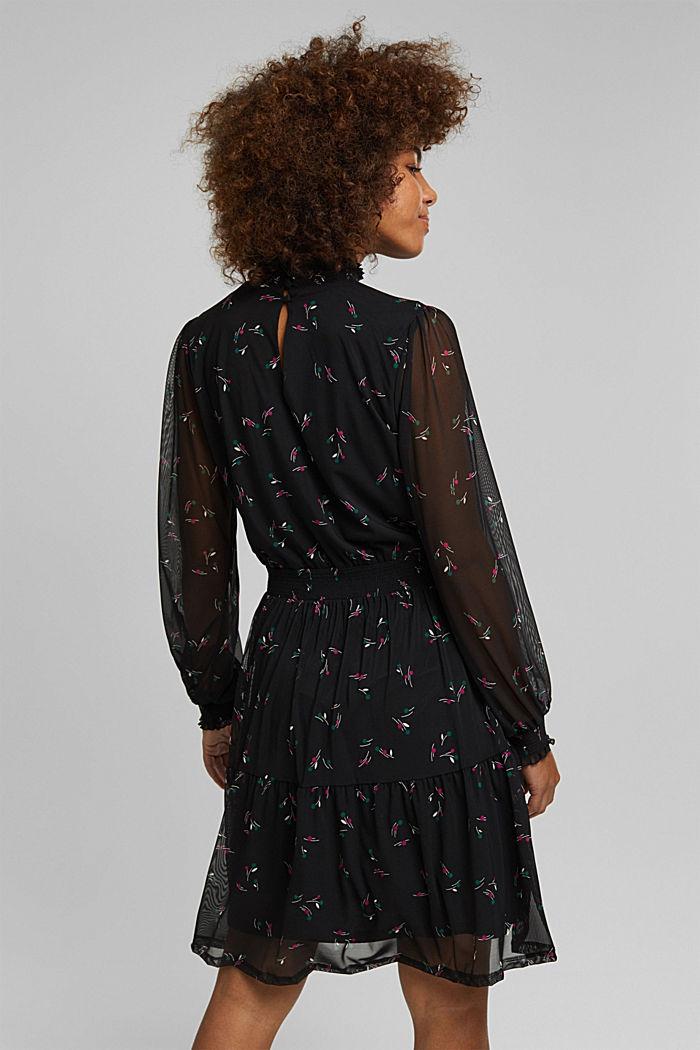 Mesh-Kleid mit Smok-Details, BLACK, detail image number 2