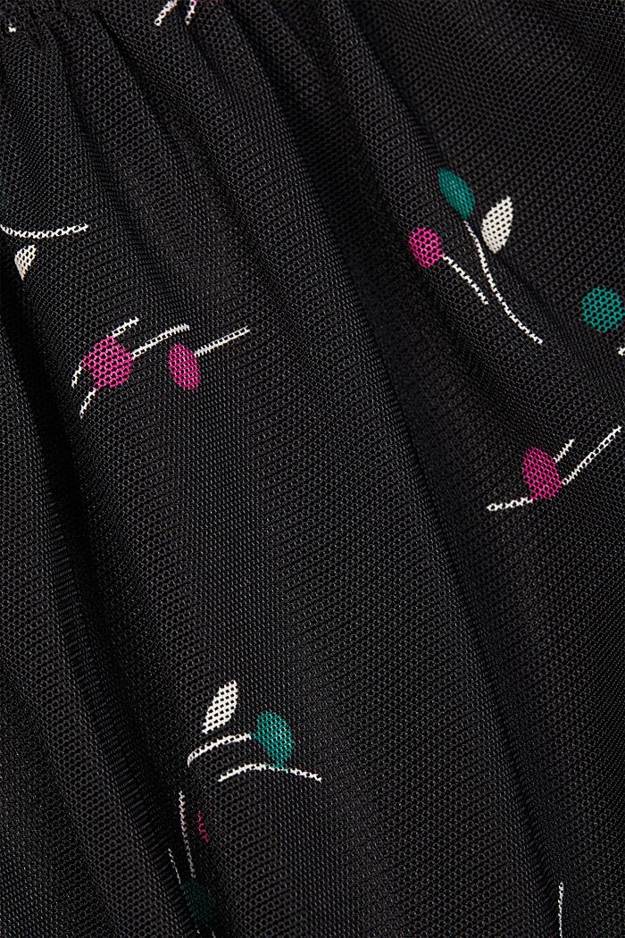 Mesh-Kleid mit Smok-Details, BLACK, detail image number 4