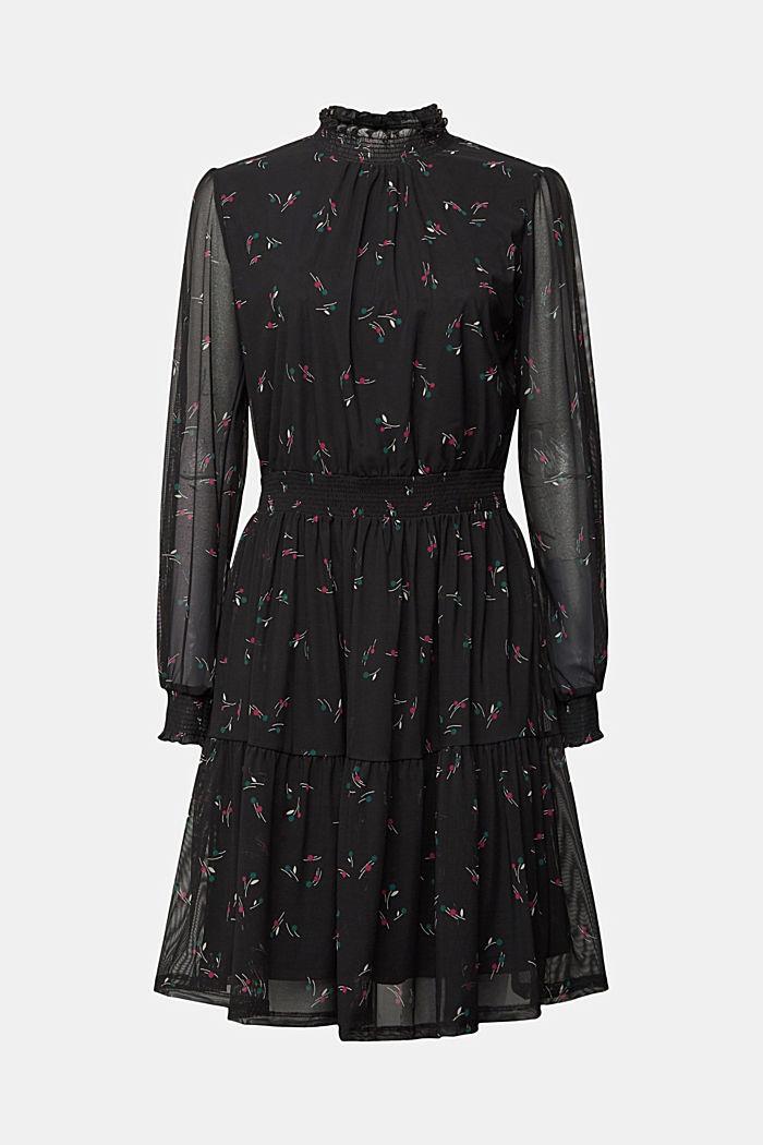 Mesh dress with smocked details, BLACK, detail image number 5
