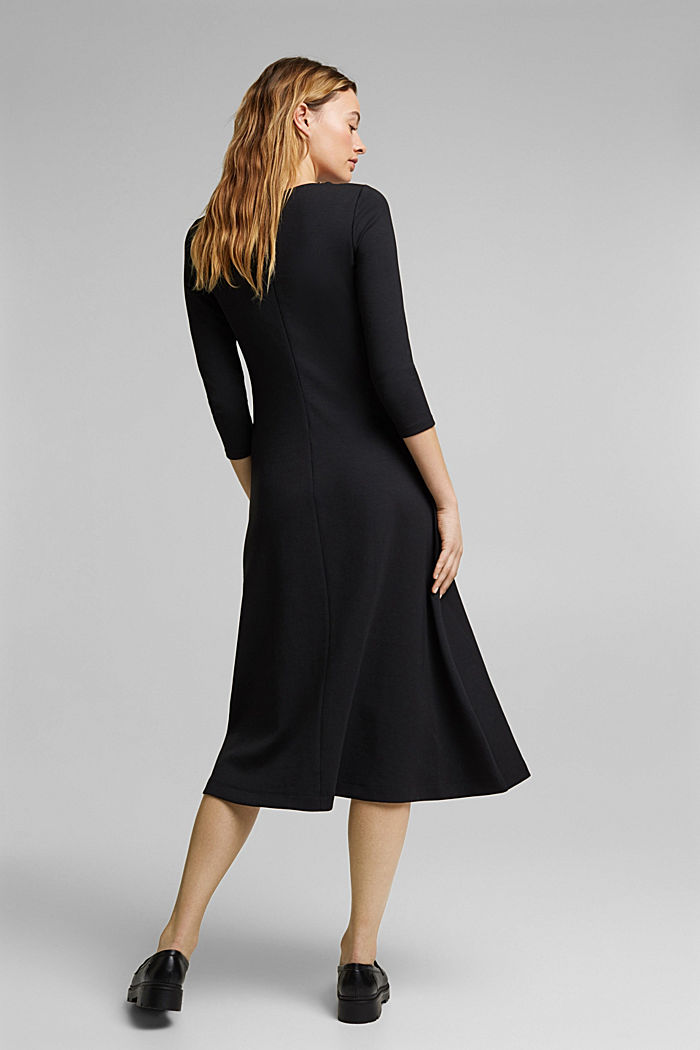 Jersey dress in a midi length, BLACK, detail image number 2