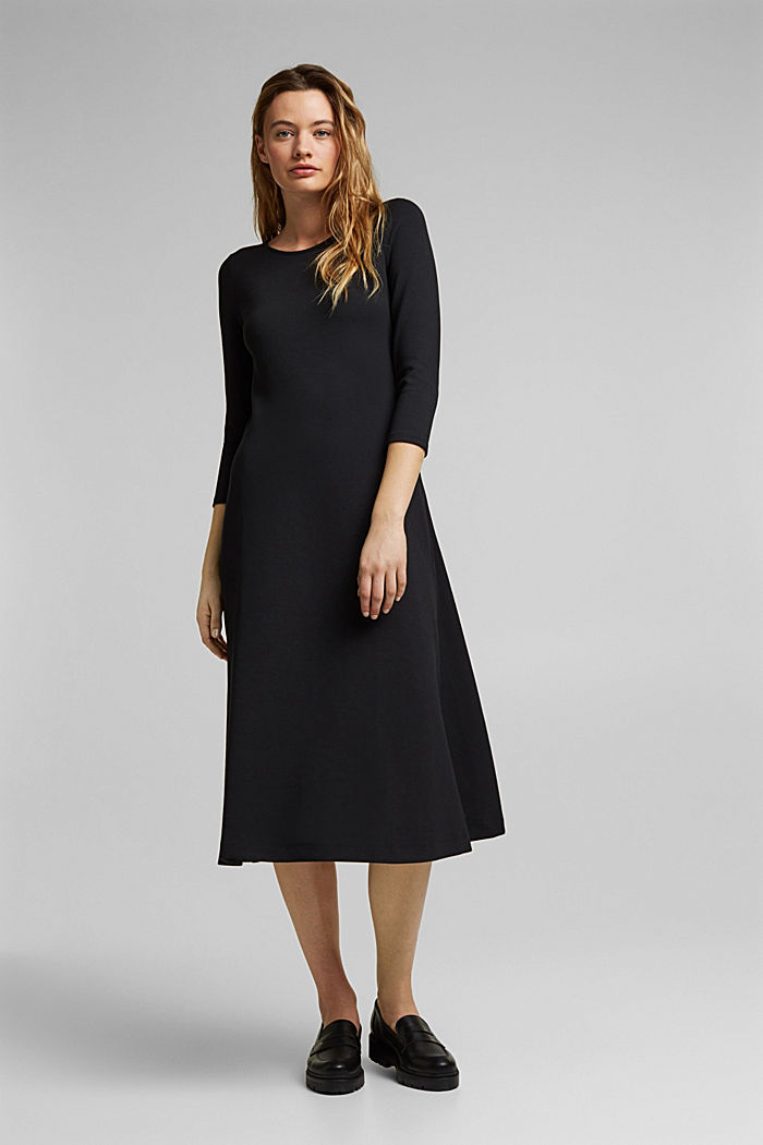 Jersey dress in a midi length, BLACK, detail image number 1