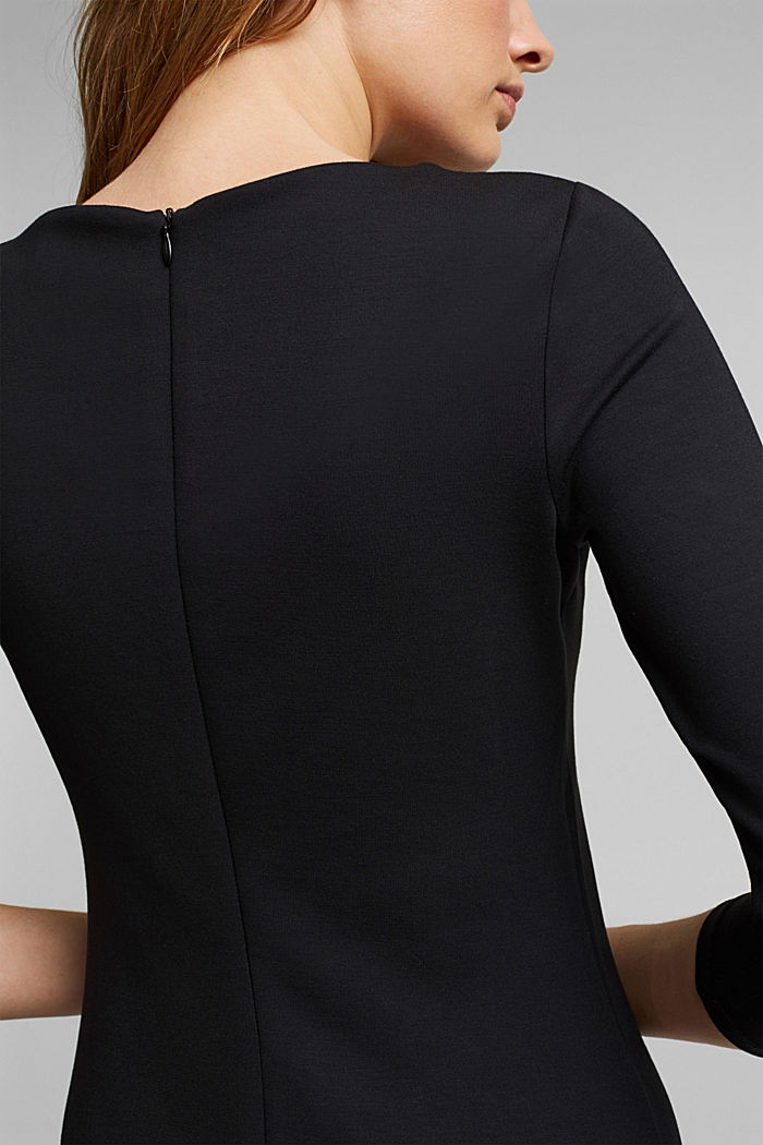 Jersey dress in a midi length, BLACK, detail image number 3