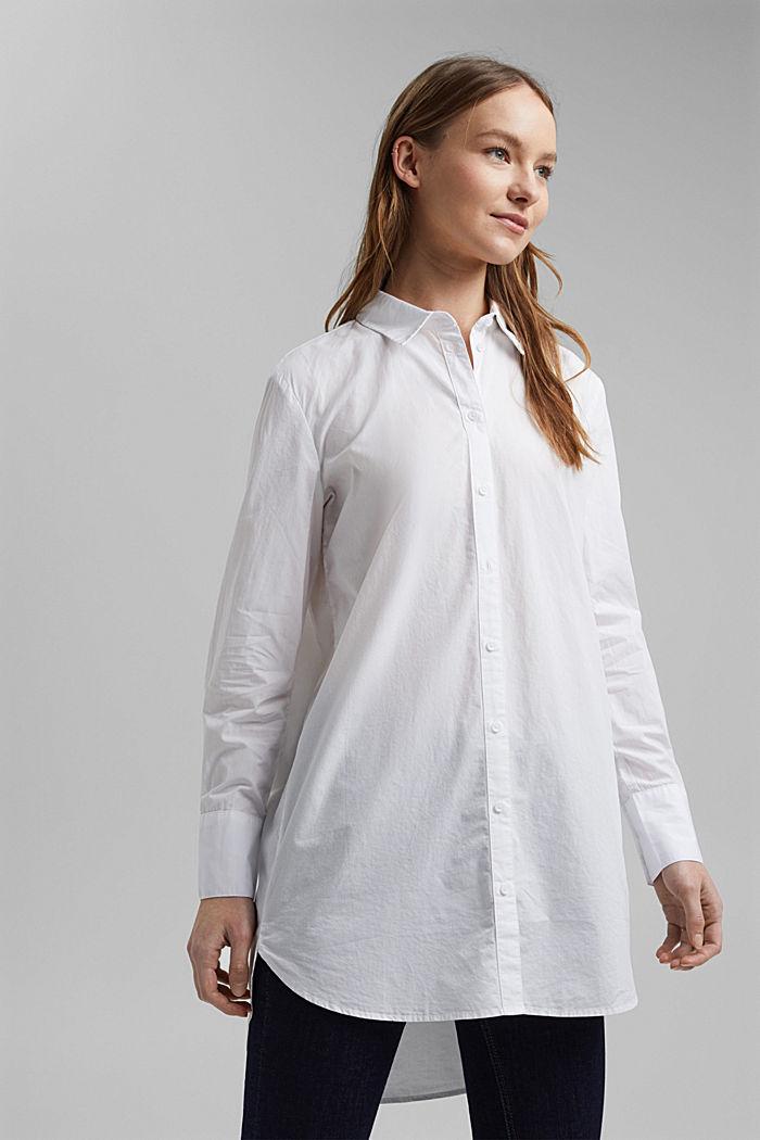 Shirt blouse in 100% organic cotton, WHITE, detail image number 6