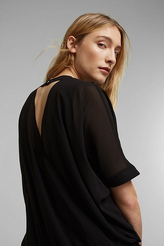 Recycelt: Chiffonbluse mit Rückenausschnitt, BLACK, detail image number 5