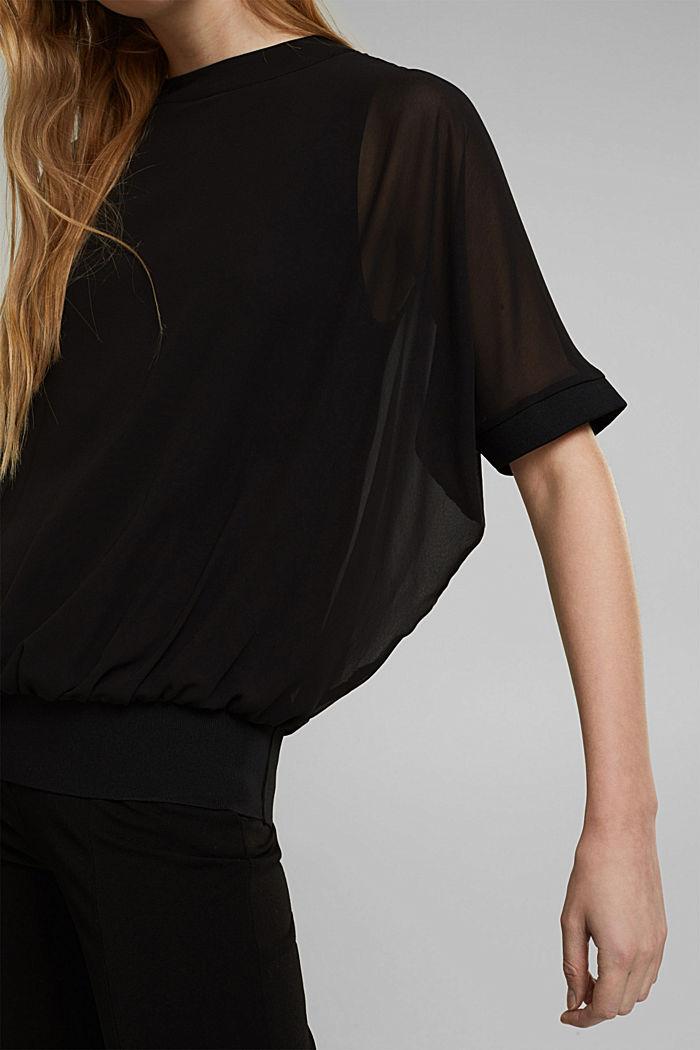 Recycelt: Chiffonbluse mit Rückenausschnitt, BLACK, detail image number 2
