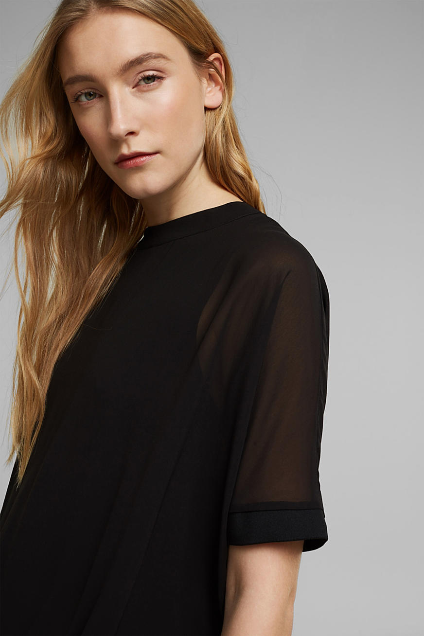 Recycled: chiffon blouse with a plunging back neckline